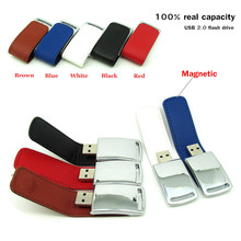 fashion magnetic brown/black/red leather USB Flash Drive Memory stick disk Thumb pendrive 4GB/8GB/16GB/32GB pen drive commercial