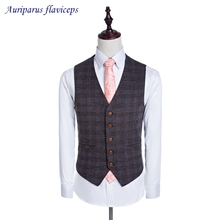2018 New High Quality 100% Wool Vest Custom Made Men's Vest Tailored Waistcoat Five Buttons(China)