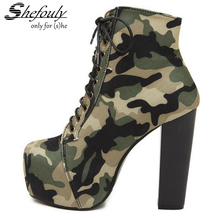 Shefouly Women High-heel Pumps Square Toe Front Band with Cross Straps Women Shoes with Camouflage Cloth Cotton Size 35 to 40