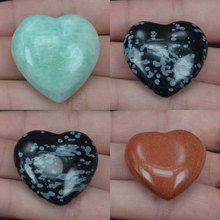 Assorted Natural Gemstone 30MM Heart Shade Stones Crystal Chakra Carved Healing Reiki