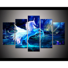5 pieces large HD printed oil painting unicorn horse forest blue canvas print home decor wall art pictures for living room