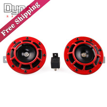 DYNO -  FreeShipping 12V Red Super Loud Grille Mount Compact Electric Blast Tone Horn Kit For universal car and moto