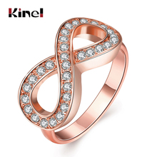 Kinel New Fashion 8 Words Shape Ring Inlay Zircon Engagement Ring For Women Rose Gold Ring Party Christmas Gifts(China)