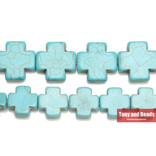 "Free Shipping 15MM 20MM 25MM Turquoises Howlite Cross Beads 15"" Strand Pick Size For Jewelry Making No.TB5(China)"