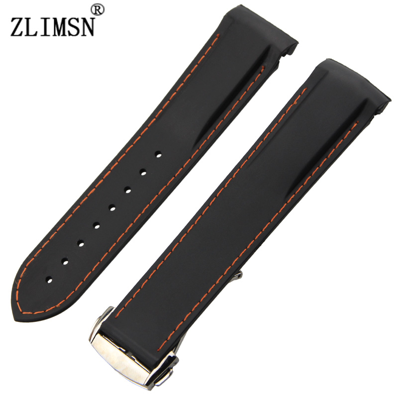 22mm Watchbands New Top Grade Black And Orange Line Waterproof Diving Silicone Rubber Watch Bands Straps With Silver Buckle<br><br>Aliexpress
