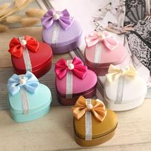 Love Heart Shaped Candy boxRibbon Bowknot Crystal Sweet Favor Boxes Christmas Gift Box Chocolate Tin Boxes Present Wedding 45(China)