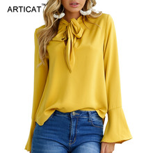 Articat sexy long sleeve blouse shirt women tops elegant party blouses and tops female blouse lace up offices ladies chiffon blouses(China)