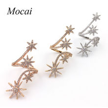 2016 New Fashion Sunflower Rings for Women Zirconia Micro Multi Layer Full Stars Opening Long Ring Gold Color Jewelry ZK35(China)