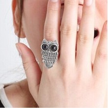 HOT SALE 2 Color 2014 Trendy Korean Jewelry Zinc Alloy Metal Retro Owl Ring For Women Fashion Jewelry