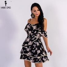Missord 2018 Sexy Elegant Off Shoulder Flower Print Female Mini Cute Dress FT8906(China)