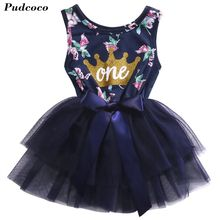 Elegant Girl Dress Girls 2017 Summer Fashion One Printed Lace Big Bow Party Tulle Flower Princess Wedding Dresse Baby Girl dress