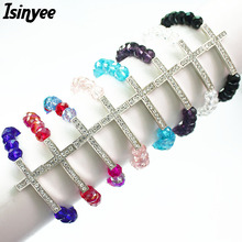 ISINYEE Fashion Crystal Cross Charms Elastic Beaded Jesus Bracelets Femme For Women Lucky Handmade Christian Religious Jewelry(China)