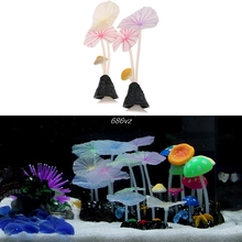 New Aquariums Accessories Artificial Coral Reef Glowing Lotus Leaf Mushroom luminous Stones Fish Tank Decoration with Sucker #(China)