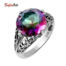 Szjinao Manufacturer Fashion Antique Jewelry Skull Mystic Rainbow Zircon 925 Sterling Silver Ring Women