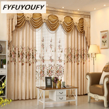 European luxury jacquard Embroidered curtains for Living Room French Windows curtains for Bedroom Customized curtains black