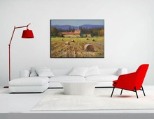 Handmade Abstract Wall Artwork Hang Canvas Picture Farm House Handpainting Tuscan Farm Landscape Countryside Knife Oil Paintings