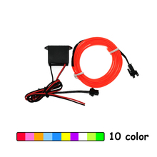 1m/2m/3m/5m/8m/10m 6mm Sewing Edge Neon Light Dance Party Car Decor Light Flexible EL Wire Rope Tube LED Strip With DC12V Driver(China)