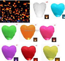 Heart-shaped Chinese Flying Sky Lanterns wishing lamp for wedding etc