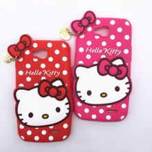 New 3D Cartoon Hello Kitty Case Soft Silicon Back Cover for LG Optimus L90 D405 D410 D415 Rubber Phone Shell