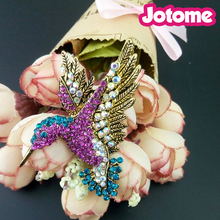 50mm Vintage multi color Hummingbird rhinestone gold tone Fuchsia and blue zircan animal brooches pins