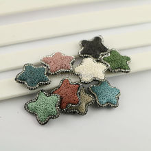 10Pcs Mixed Color Volcanic Lava Stone Pave Rhinestone Crystal Loose Spacer Bead For Jewelry Making Bracelet(China)