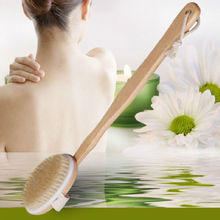1Pcs Natural Wooden Bath Brushes Cleaner Long Handle Body Back Scrub Massage Cleanning Shower Brush Spa Scrubber Personal Care
