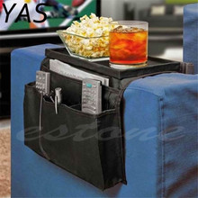 YAS Sofa Arm Rest Chair Settee Couch Sofa Remote Control Table Top Holder Organiser Black Tray  Dish Decoration Plate