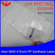 UHF RFID tag sticker Alien 9640 PP synthetic label 915mhz 900mhz 868mhz Higgs3 EPCC1G2 6C smart adhesive passive RFID tags label