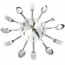 Modern Design Sliver Cutlery Kitchen Wall Clock Novelty Spoon Fork Wall Clocks Home Decor Watch Creative Wall Stickers