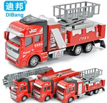Free shipping Best quality fire trucks 1:32 alloy model,Pull Back Toy car,fire engine toys cars ,Diecast car gift for children(China)