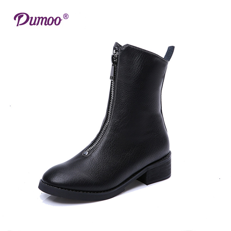 Brand Sale Shoes Women Boots Zipper Autumn Winter Boots Genuine Leather Mid Calf Boots Women Low Heel Shoes Size 35-40<br><br>Aliexpress