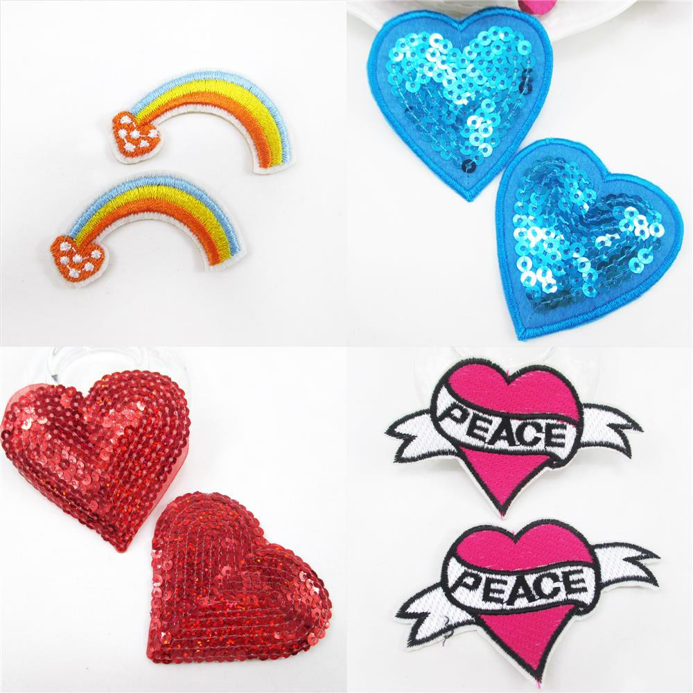 heart Rainbow embroidery patch diy clothing patch applique blossom DIY Accessory Sewing Supplies,20Yc387