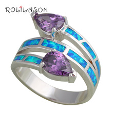 Zircon Jewelry Wholesale Retail Blue fire Opal Silver Rings for women fashion Jewelry USA size #6 #7 #8 #9 #10 OR295