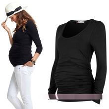 Maternity clothing spring and autumn plicated springy top maternity t-shirt basic long-sleeve cotton Clothes For Pregnant Women(China)