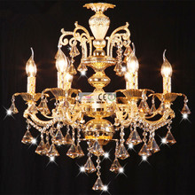 Zinc Alloy  crystal candle chandelier living room restaurant bedroom hotel penthouse villa stairs chandeliers AC110-240V 6 Arms