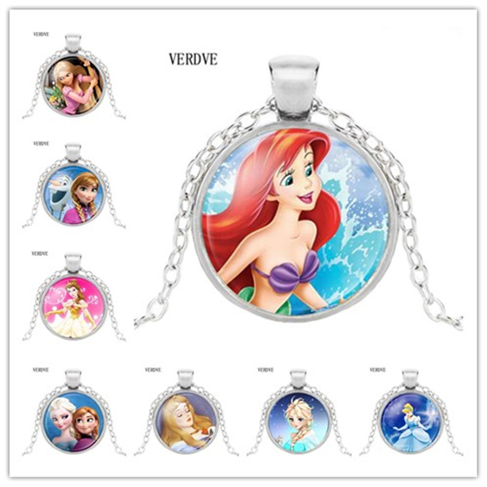 VERDVE 2017 new fashion women's long-necklaces jewelry glass cabochon Princess Anna Snow Queen Pendant necklace girl(China)