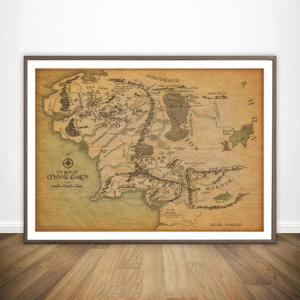 Map Of Middle Earth Map The Lord Of The Rings Movie Wall Art Paint Decor  Canvas Prints Canvas Art Poster Oil Paintings NoFrame