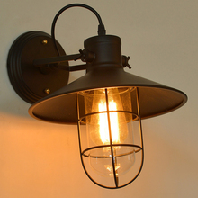 American loft retro iron wall lamp industrial loft sconce creative bedroom bedside mirror front glass wall lamp outdoor light(China)