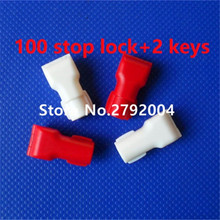 100pcs/lot EAS anti-theft stop lock for retail display security hook stem&peg stop lock+2pcs magnetic detacher keys