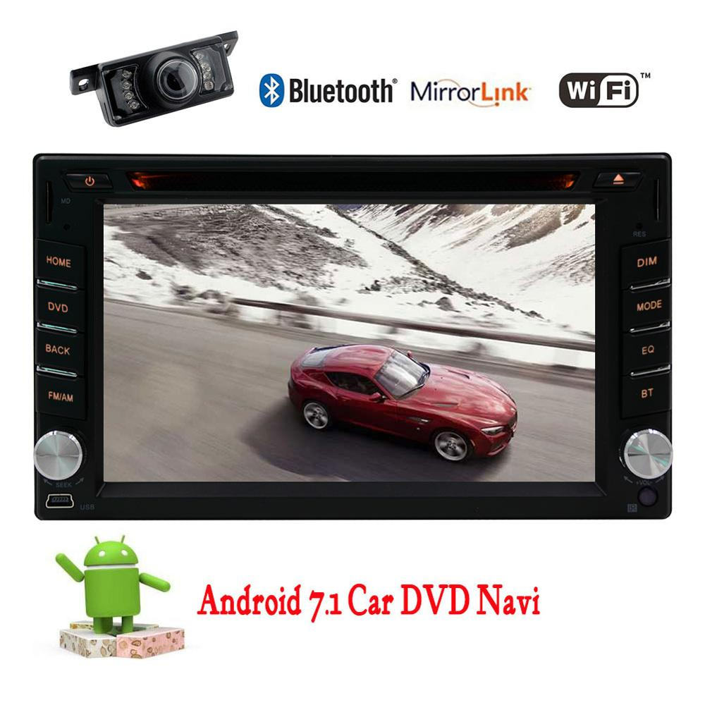 Free Rear Camera Car Stereo Android 7.1 2 Din Autoradio Head Unit Vehicle GPS Navigation Steering Wheel Control DVD WiFi OBD2