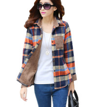 2016 New Women's Winter Blouse Shirts Fashion Casual Warm Cardigan Shirts Female Long Sleeve Thickening Plaid Shirt Blusas Tops