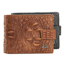 Fashion Alligator Grain Genuine Leather Men Wallets 3 Folds Black Brown Colors Coin Change Purse Carteira Wallet Free Shipping(China)