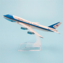 16cm Metal Plane Model Air Force United States of America Airways Boeing 747 B747 200 Airlines Airplane Model w Stand Aircraft(China)