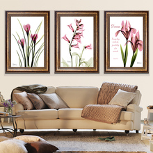 The pink flowers of modern minimalist mural painting decorative painting the living room restaurant triptych framed paintings ar