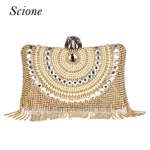 Buy New Women Diamond Wedding bride Shoulder Crossbody Bags Gold Clutch Beaded Tassel Evening Bags Party Purse banquet Handbags Li29 for $23.99 in AliExpress store