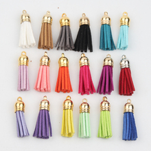 50pcs Gold Head 38mm Leather Tassels Fiber Fringe Suede Tassel for Jewelry Making DIY Pendant Charm Keychain Cellphone Straps(China)