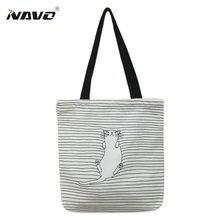 Canvas fabric reusable grocery tote big foldable shopping bag striped cotton bags eco sac cute cat print shoping bags