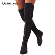 Sexy Knee Long Boots Women Rome Lace Boots Women Flats Shoes Woman Suede Shoes Botas Winter Thigh High Boots 35-43