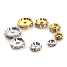 5Metal Flat Gold Silver Color Rhinestone Rondelles Crystal Bead Loose Spacer Beads 6mm 8mm 10mm 12mm DIY Jewelry Making - SAUVOO Offcial Store store