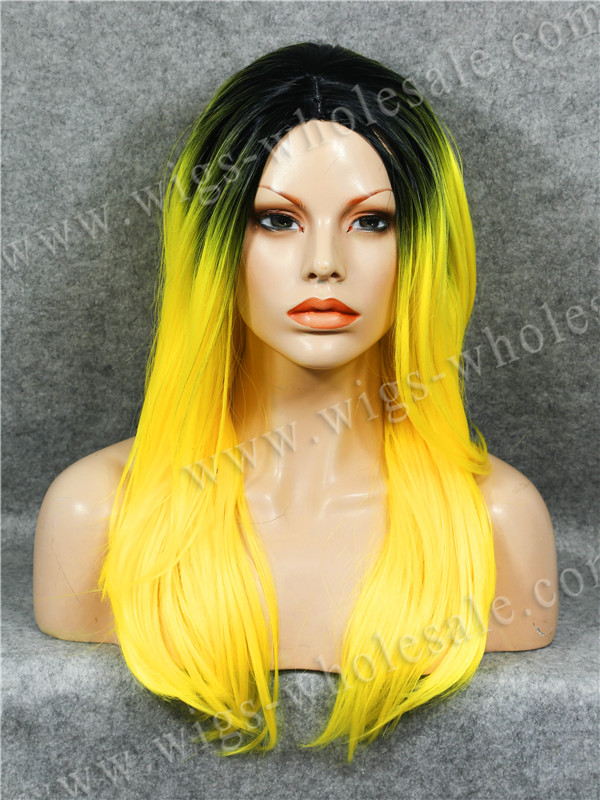 Hot Sale Natural Straight Yellow Ombre Cosplay 22 Inches Synthetic Skin Top Wig Free Shipping<br><br>Aliexpress